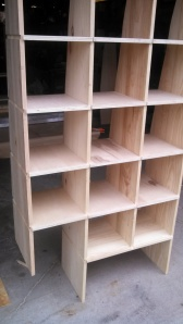 The beginning of custom shelving.